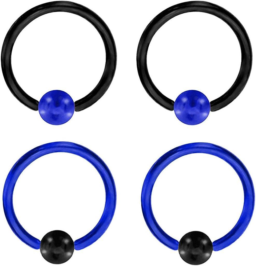 playful piercings 2 Pair of (18g, 16g, 14g, 12g or 10g) Custom Blue & Black Captive Bead Ring Lip, Belly, Nipple, Cartilage, Tragus, Septum, Earring Hoop