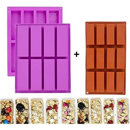 Moldes rectangulares de silicona para barras de granola, moldes para barras de cereales nutricionales, máquina para hacer barras de energía para ...