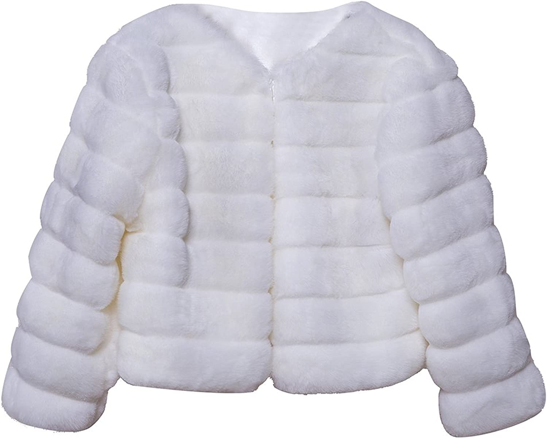 LIVEINU Women's Embossed Faux Fur Jacket Coat Wrap Shawl
