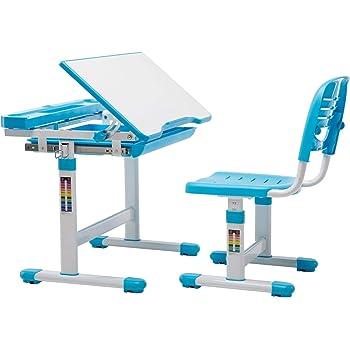 Mecor Bureau Ergonomique pour Enfant avec Lampe et Chaise Gris,Plaque de Table inclinable,Hauteur r/églable sur Plusieurs Niveaux Une Bonne Posture pour Enfant