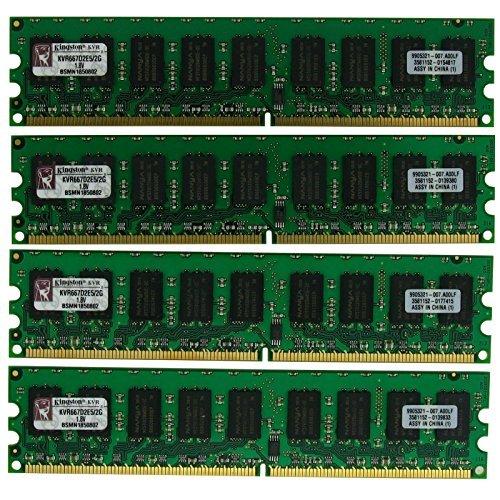 Kingston 8GB (4x2GB) PC2-5300 (DDR2-667) ECC KVR667D2E5/2G DDR2 SDRAM unbuffered 240 Pin 1.8V Server Memory (Pack of 4)