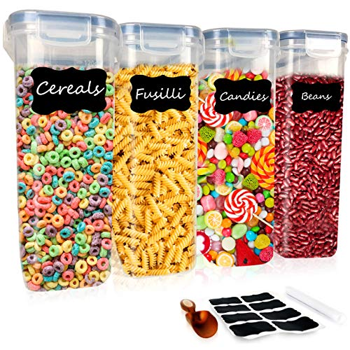 DS HappyLiving Large Cereal Storage Container Set of 4  132oz Bpa-free Airtight Container Cereal  Large Cereal Holder Cereal Container Cheerios Container With Pen Labels Scoop