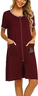 Sleepwear Women Zipper Front House Coat Lightweight Soft Robe Short Nightgown