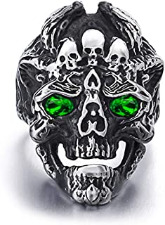 Crazy Feng Skull Ring for Men Stainless Steel Skeleton Ring for Teens Gothic Ring Halloween Jewelry Size 7-14