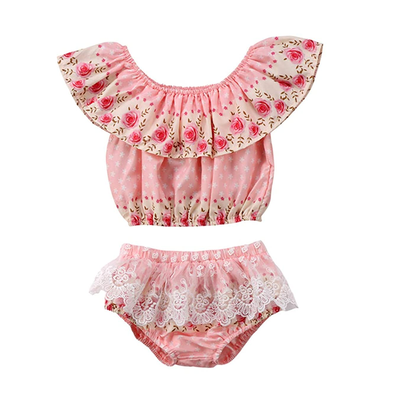 2 Piece Newborn Infant Baby Girl Floral Ruffle Crop Tops+Lace Panties Briefs Short Outfits Summer Clothes Set