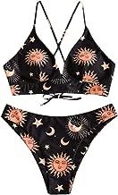 ZAFUL Star Sun Moon Print Bathing Suits for Women Back Criss Cross Lace-up Triangle Bikini