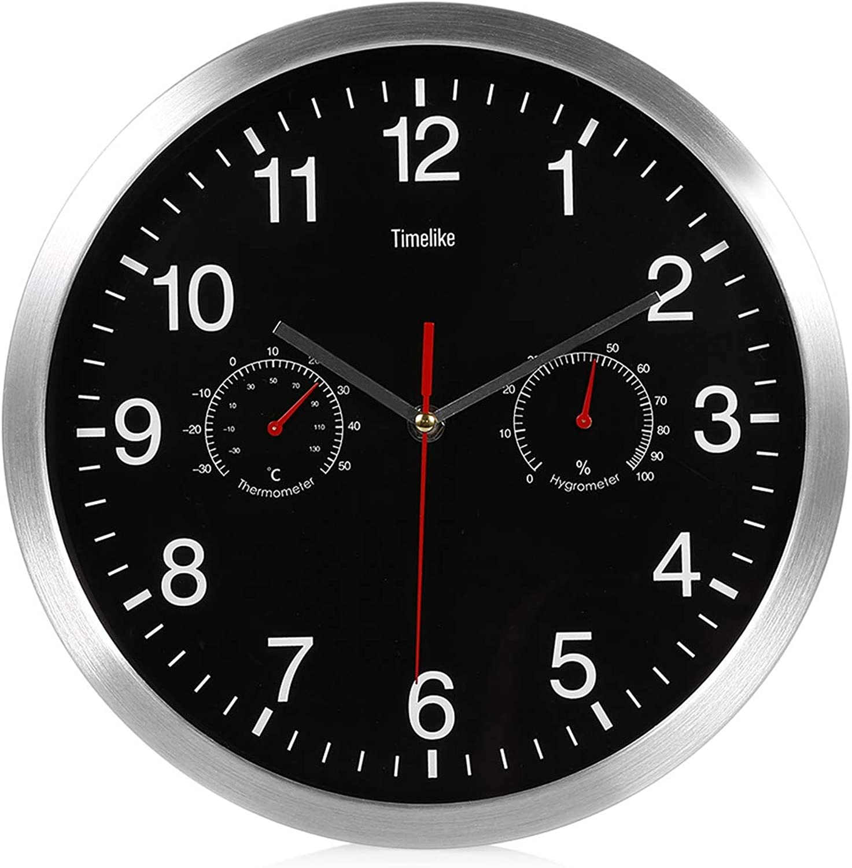 barato y de moda ZhengFei ZhengFei ZhengFei 32 cm. Parojo silenciosa. Reloj de Metal. Termómetro. Higrómetro. Movimiento de Barrido Tranquilo. Reloj de Parojo gris  marcas en línea venta barata
