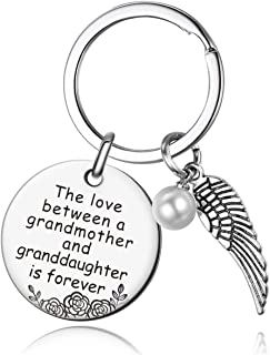Grandma Gifts from Granddaughter - The Love Between Grandmother & Granddaughter is Forever, Stainless Steel Keychain,Gift for Grandma