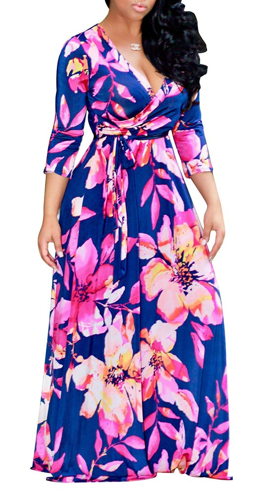 Available at Amazon: Farktop Women's V Neck Long Sleeves Digital Graffiti Printed Prom Party Maxi Long Dress with Belt