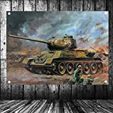 NOT WW2 Russian Soviet T34 Tank Poster Military Posters Senior Art Waterproof Cloth Painting Large Flag Banner Tapestry Wall Stickers Mural Vintage Decor Upholstery 96X144 cm
