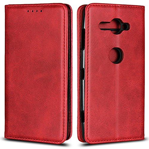 Copmob Sony Xperia XZ2 Compact hülle,Premium Flip Leder Geldbörse mit weichem TPU-Shock Absorption,[3 Kartensteckplatz][Ständerfunktion][Magnetschnalle] - Rot