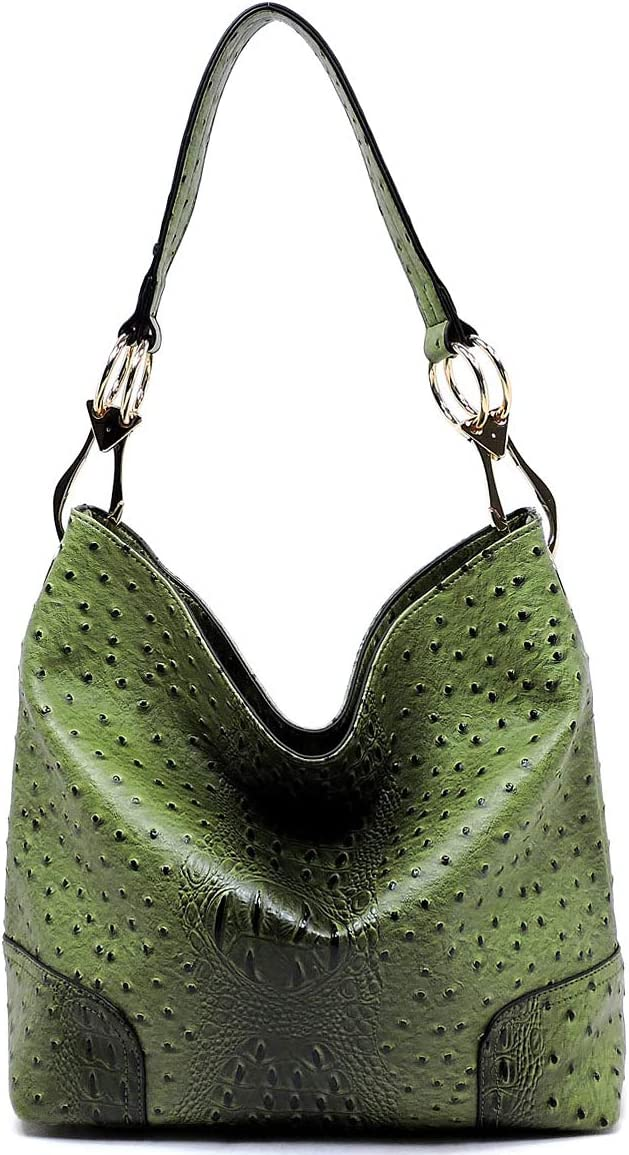Le Miel Ostrich Embossed Zip Top Classic Hook Style Hobo (Olive)