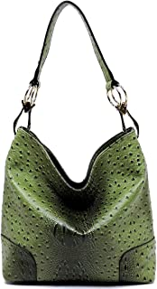 Le Miel Ostrich Embossed Zip Top Classic Hook Style Hobo