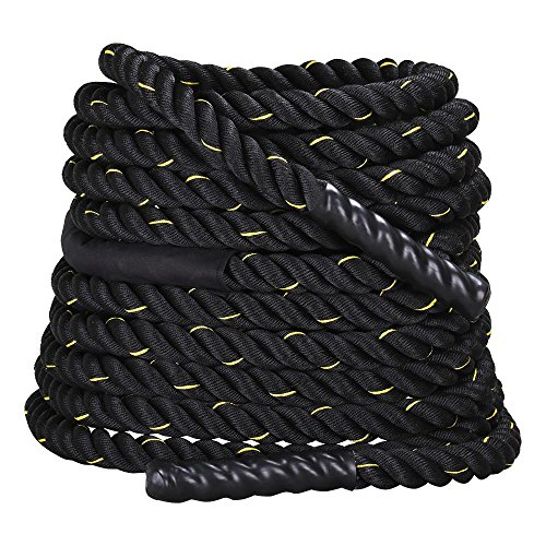YAHEETECH 1.5' Polyester 50ft Battle Rope Workout Cardio & Core Strength Training Fitness Undulation Rope Exercise, Black