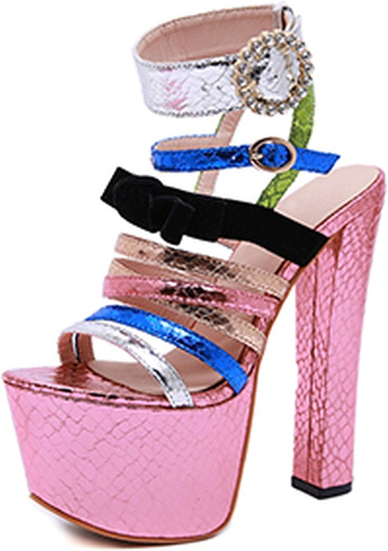 HuangKang Extreme Platform Sexy Super High Heel Women shoes Butterfly-Knot Buckle Strap gold Silver Wedding Sandals