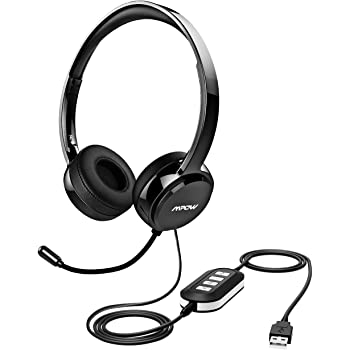 Amazon Com Mpow 071 Usb Headset 3 5mm Computer Headset With Microphone Noise Cancelling Lightweight Pc Headset Wired Headphones Business Headset For Skype Webinar Cell Phone Call Center Electronics