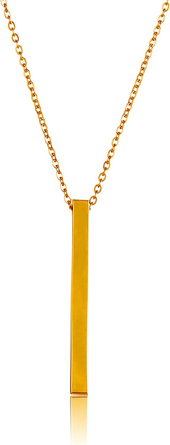 ELYA Jewelry Womens Gold Plated Polished Bar Stainless Steel Y Shaped Necklace, One Size