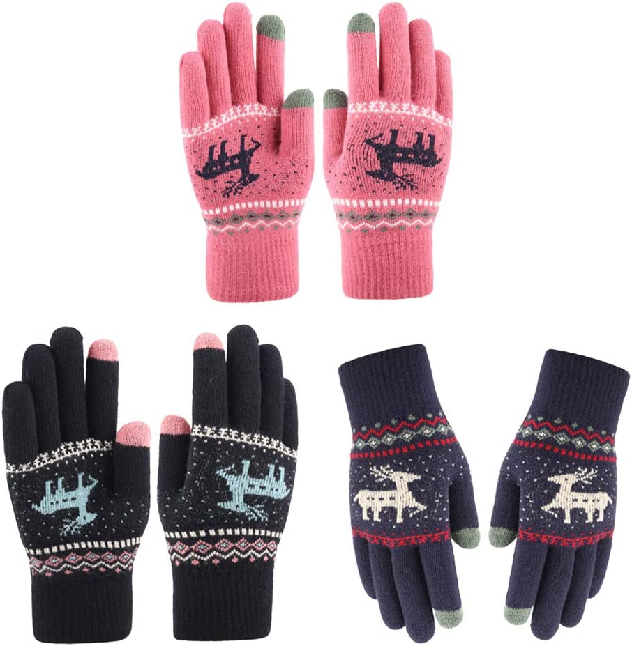Abaodam 3 Pairs Adorable Women Winter Gloves Thicken Touchscreen Knitted Gloves