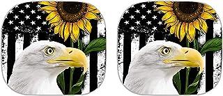 POLERO Protetores de sol para carro, bandeira americana, girassol, águia, 2 peças, acessórios universais para automóveis, ...