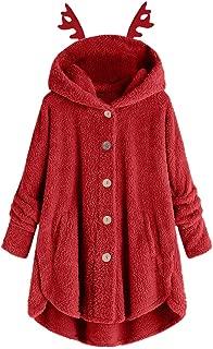 iLOOSKR Christmas Fashion Winter Warm Hooded Coat Women Plus Size Button Buckhorn Shape Hooded Sweater Blouse Outwear