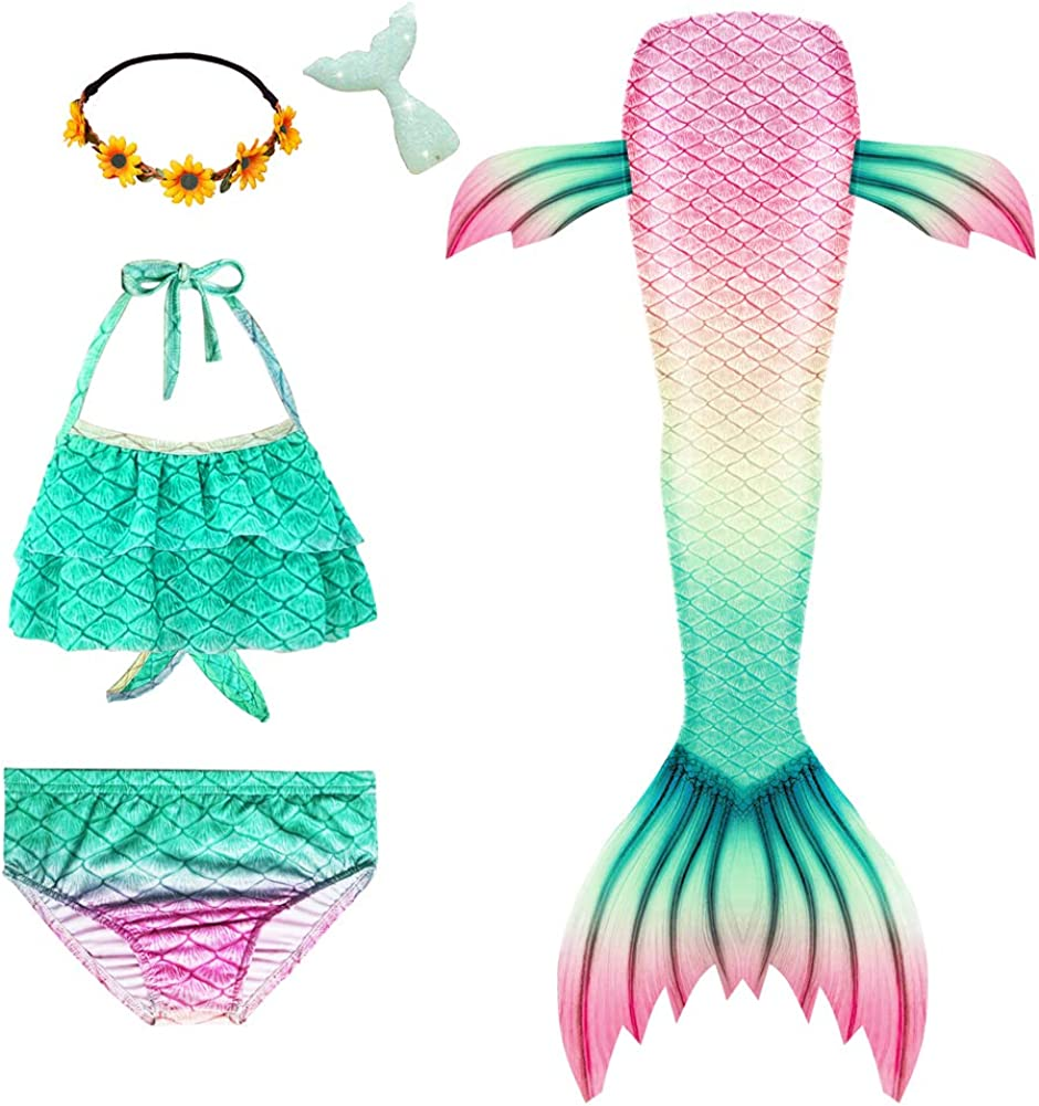 Easy-to-use Mskseciy Mermaid Tails for Girls Swimming S 67% OFF of fixed price Bathing 3Pcs