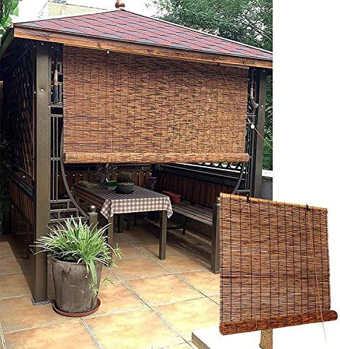 XRDSHY Bamboo Rollo Side Zugrollo, Bamboo Blind para Ventana, Ruffrollo Ventana Interior, Exterior, Cocina, Balcón, Patio, Puerta, Naturaleza Giratoria,130 x 225 cm (51 x 89 in)