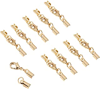 PH PandaHall 20 Sets Brass Lobster Claw Clasps Fold Over Cord End Caps Terminators Crimp End Tips for Jewelry Making, Golden