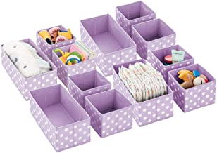 mDesign Soft Stackable Fabric Closet Storage Organizer Holder Box - Clear Window, Attached Lid, for Child/Kids Room, Nurse...