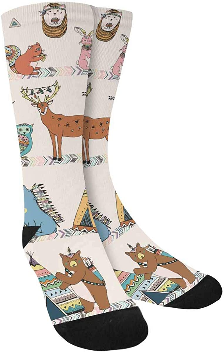 INTERESTPRINT Tribal Animals Woodland Forest Sublimated Polyester Casual Crew Socks