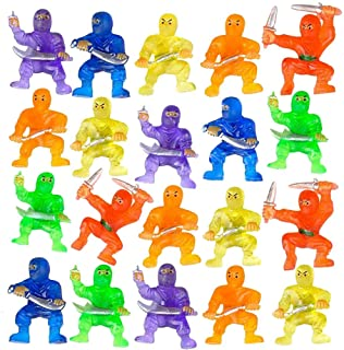 ArtCreativity Mini Ninja Figurines, Pack of 48, Assorted Colors Plastic Action Figures Playset, Little Ninja Warriors in A...