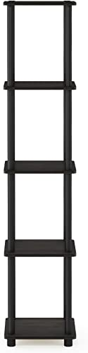 FURINNO Turn-N-Tube 5-Tier Corner Square Rack Display Shelf, Round, Espresso/Black
