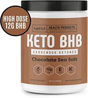 Omega Keto BHB Exogenous Ketones - Chocolate Sea Salt - High Dose Base goBHB Salt Powder   Perfect for Supporting Energy, Mental Focus, Ketosis   Great for Ketogenic Diet (16 Servings)
