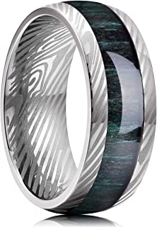 King Will 8mm Men Titanium Wedding Ring Inlaid Green Wood and Inner Hole Plating Damascus Texture