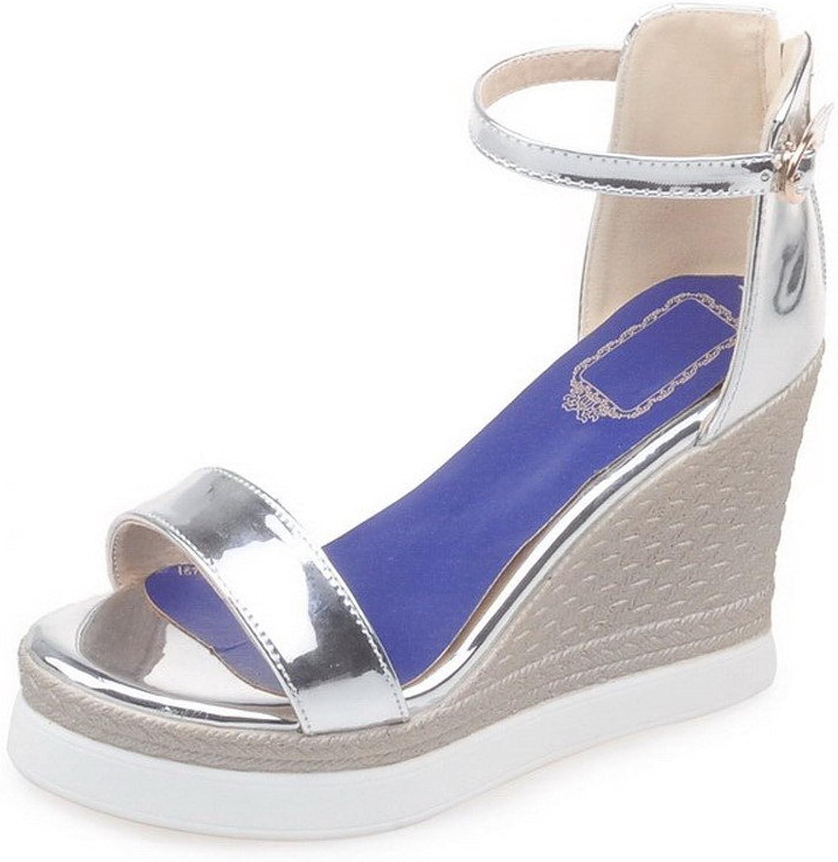 WeenFashion Women's Open Toe Buckle PU Wedge Solid High-Heels Sandals