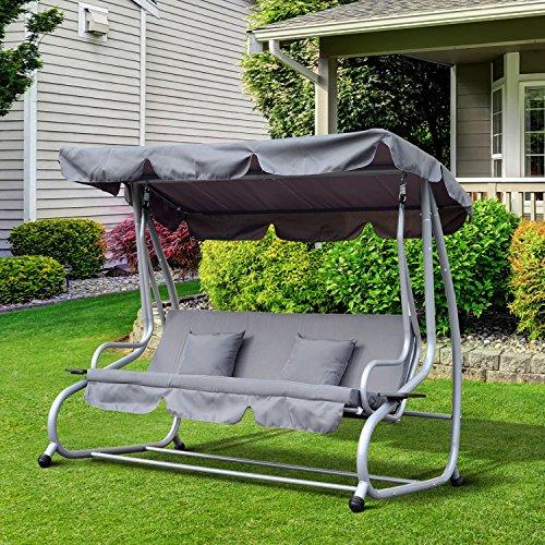 Outsunny Hollywoodschaukel Gartenschaukel 3-Sitzer Liegefunktion Stahl Grau 200x120x164cm - 2