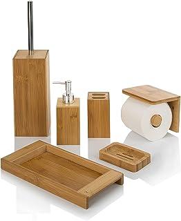 MYDAYDECO Set d'accessoires de salle de bain en bambou - Lot de 6 accessoires pour lavabo en bois naturel (distributeur de...