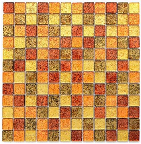 Mosaico Piastrelle Mosaico di vetro traslucido Crystal oro arancione struttura per parete bagno doccia cucina Piastrelle Specchio banconi verkleidung badewannen verkleidung mosaico Matte mosaico Piastra