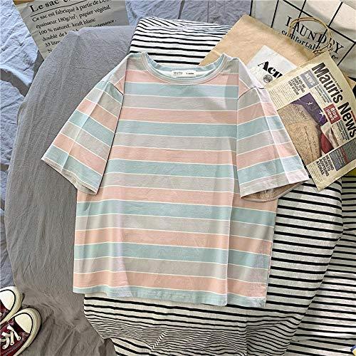 Camiseta para Mujer Summer Sweet Women T-Shirt Rainbow Stripe Casual Loose Women Top Minimalista Camiseta De Manga Corta Camiseta De Fútbol para Mujer L Rosa