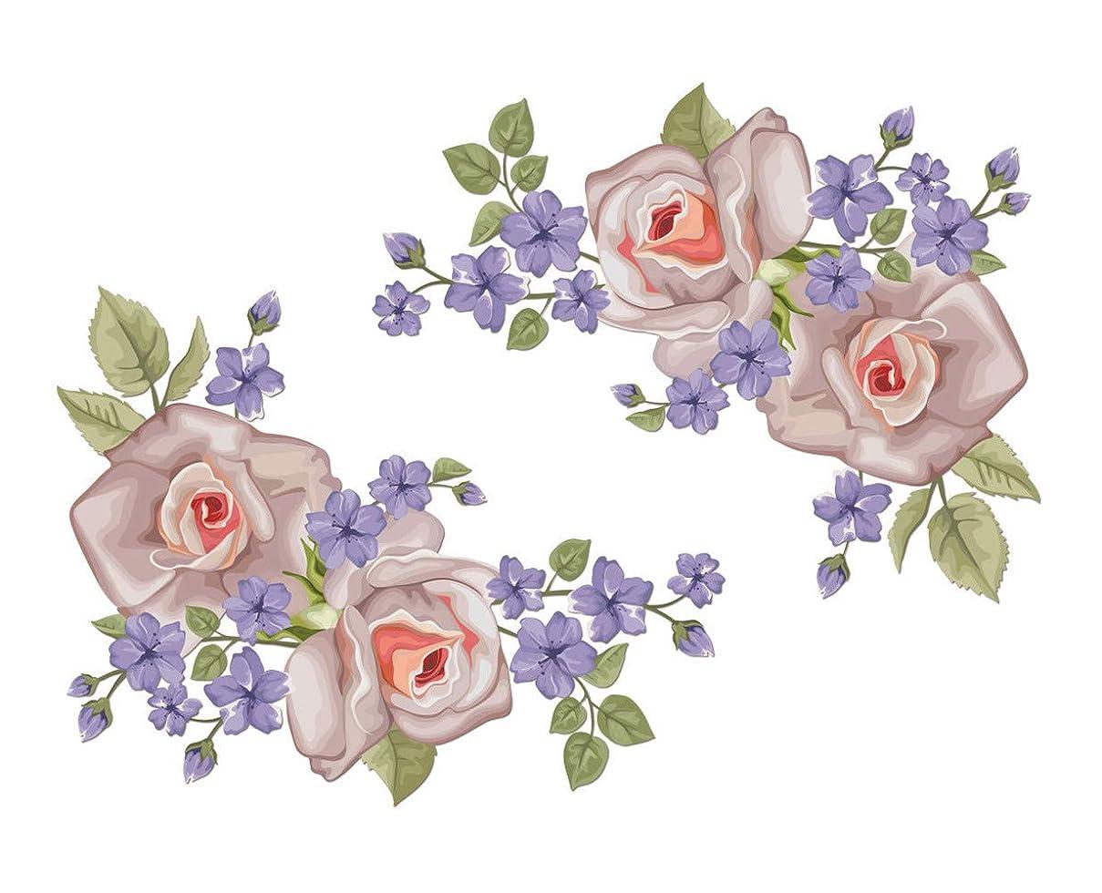 思いつくピザ戦士Chirstseason ウォールステッカー 薔薇 紫 花 インテリア 家具 飾り物 店舗 ガラス ドア リビング 玄関 廊下 キッチン 冷蔵庫 トイレ 剥がせる 生活防水 壁紙 シール ウォールシール