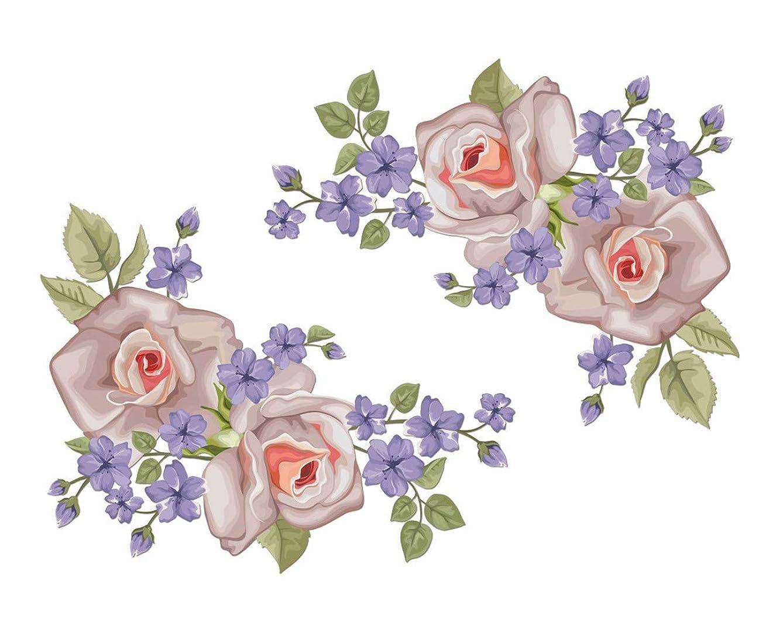 ランデブーお尻依存Chirstseason ウォールステッカー 薔薇 紫 花 インテリア 家具 飾り物 店舗 ガラス ドア リビング 玄関 廊下 キッチン 冷蔵庫 トイレ 剥がせる 生活防水 壁紙 シール ウォールシール