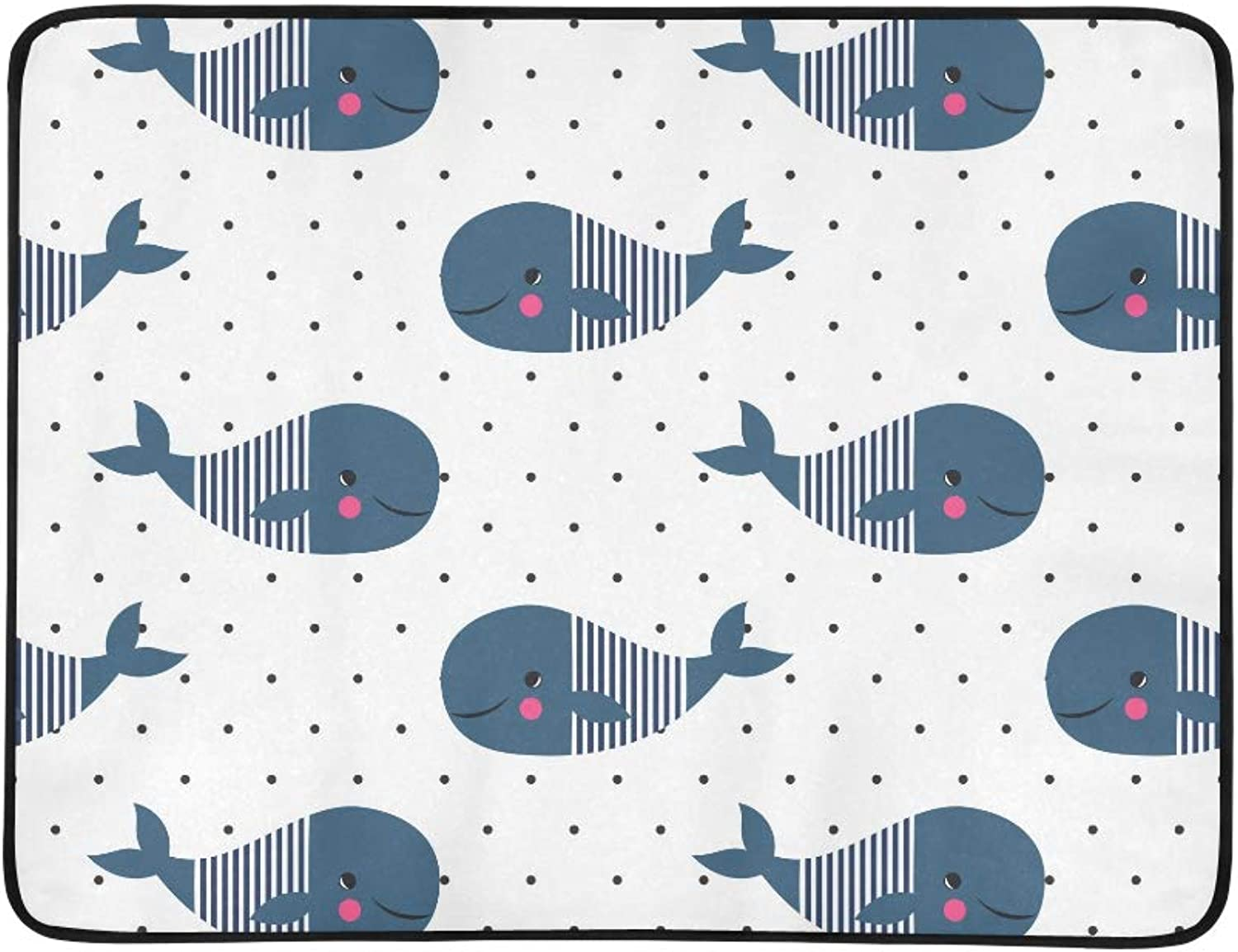 Cute Cartoon Whale On Polka Dots Pattern Portable and Foldable Blanket Mat 60x78 Inch Handy Mat for Camping Picnic Beach Indoor Outdoor Travel