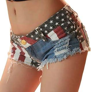 Yeirui Women's Cut Summer Sexy Ripped Off Low Waisted Cheeky Denim Jean Thong Shorts Hot Pants