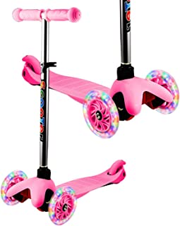 YUEBO Kick Scooter for Toddlers & Kids/Non-Batteries LED Light Up Scooter/ 3 Wheels Height Adjustable Scooter/Grils Boys Scooter Suitable for Children from 2-12 Years Old