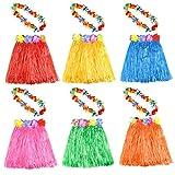KUUQA 6 Set 12 PCS Hula Hawaiana Falda de Hula con Collar de Flores Leis Hawaii Luau Faldas Collar Traje de Disfraces para niños Mujeres Luau Fiesta cumpleaños (Color al Azar)