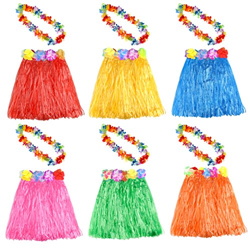 KUUQA 6 Set 12 STÜCKE Hawaiian Gras Hula Rock Mit Blume Leis Halskette Hawaii Luau Röcke Halskette Kostüm für Kinder Mädchen Frauen Luau Geburtstagsfeierbevorzugung Liefert (gelegentliche Farbe)