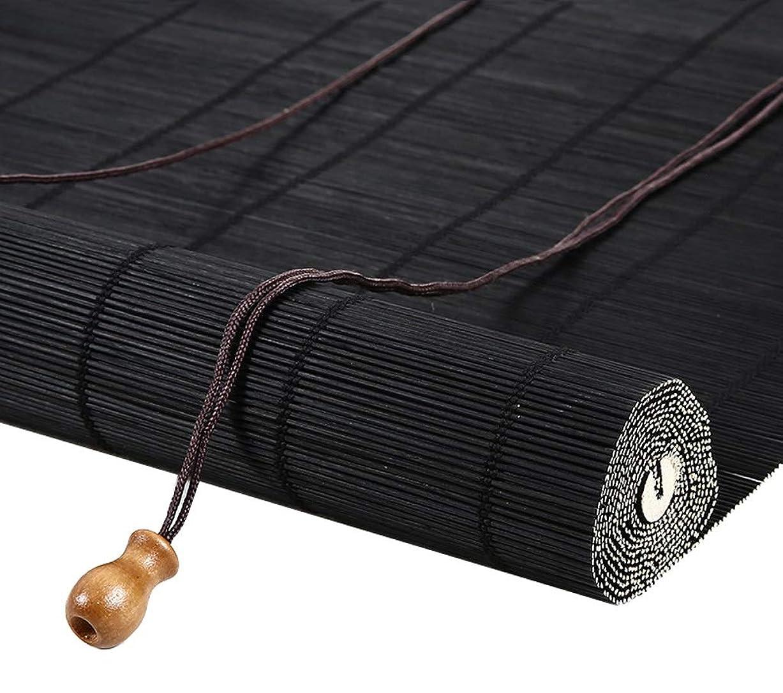見かけ上服を洗う偽物竹のカーテン茶屋レストランシェード換気ローラーブラインド用窓バルコニー仕切りカーテン、セミプライバシーブラインド、フックアップ (色 : ブラック, サイズ さいず : 85x150cm)