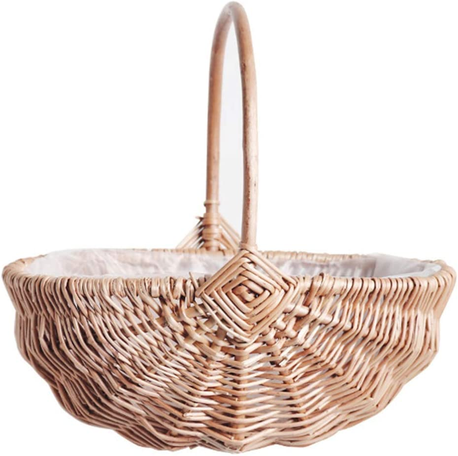Fort Worth Mall YARDWE Handwoven Flower Basket Willow Handle Storage with Max 61% OFF