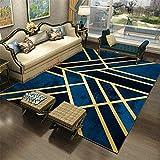Alfombra Silla Gaming azul Alfombra estilo moderno azul patrón geométrico alfombra de dormitorio duradera anti-sucia Alfombra Juvenil El 180X250CM Alfombra Antiacaros Salon 5ft 10.9''X8ft 2.4''