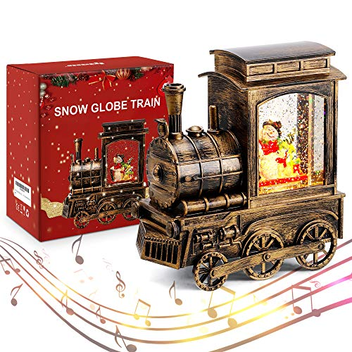 IPOW Christmas Snow Globe Lantern Train with Water Swirling Glitter, Musical and Lighted 6 Hours Timer USB Powered & Battery Operated Music Box for Christmas Home Decoration and Gift, Snowman Scene (Christmas Snowglobe)