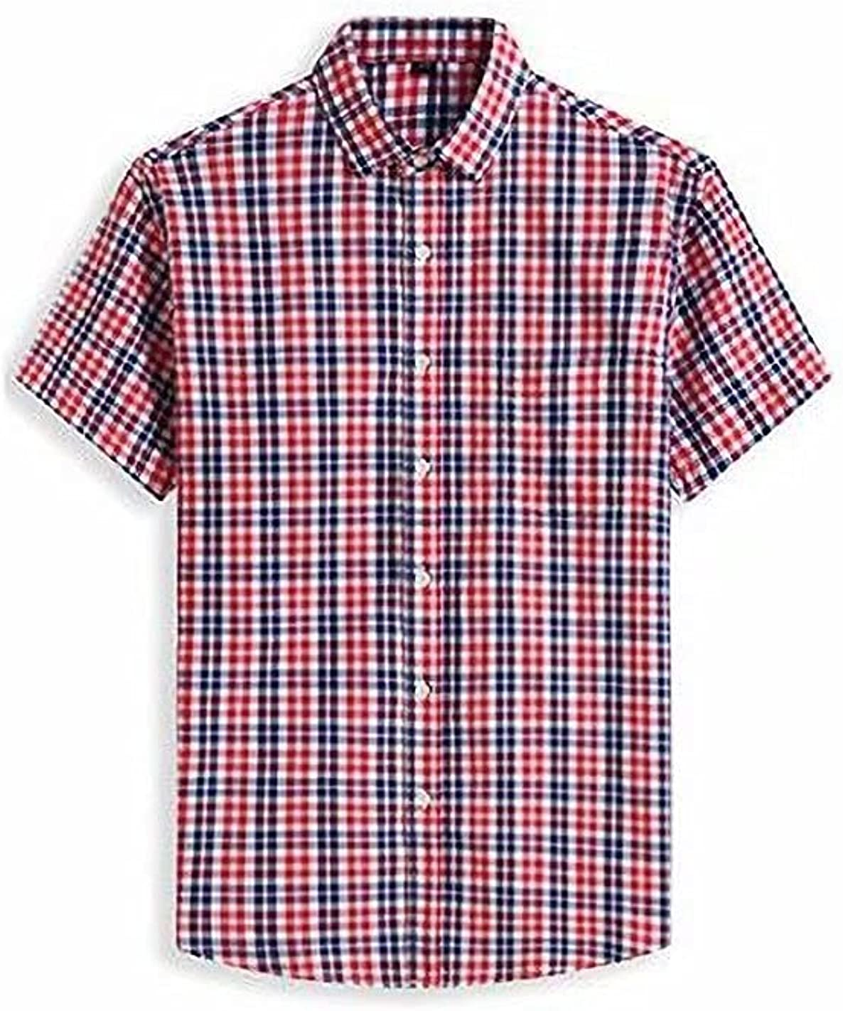 Jcoze Men's Relaxed Fit Casual Checkered Super Size 100% Cotton Short-Sleeve Shirt